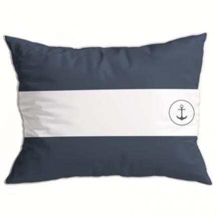 Coussin rectangulaire imperméable à bandes bleues marine et blanche