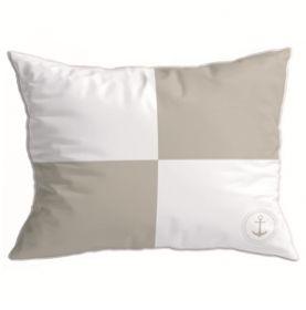 2 coussins 40 x 30 beige et blancs drapeau
