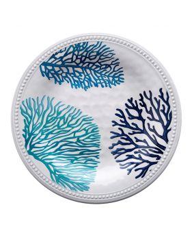 Grande assiette en mélamine décoré de motifs coraux bleus