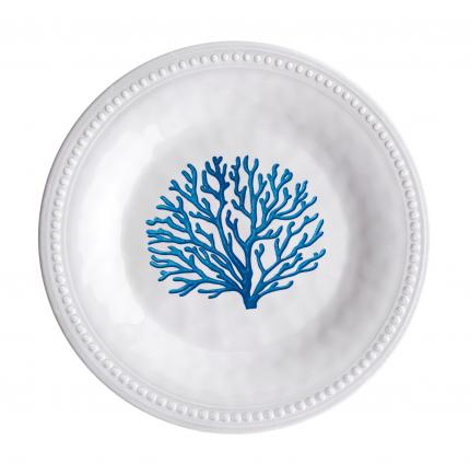 assiette à dessert en mélamine à motif corail bleu