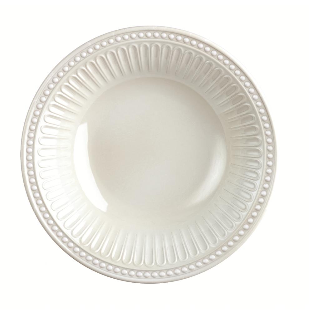 Assiette creuse blanche en mélamine avec jolie bordure