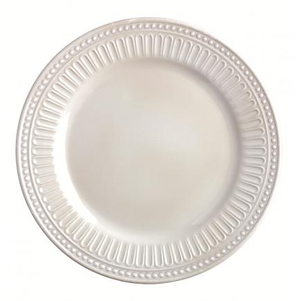 assiette à dessert blanche mélamine à bordure en relief