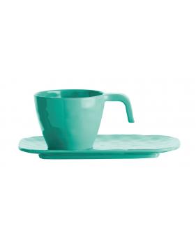 Set tasse expresso et soucoupe en mélamine turquoise