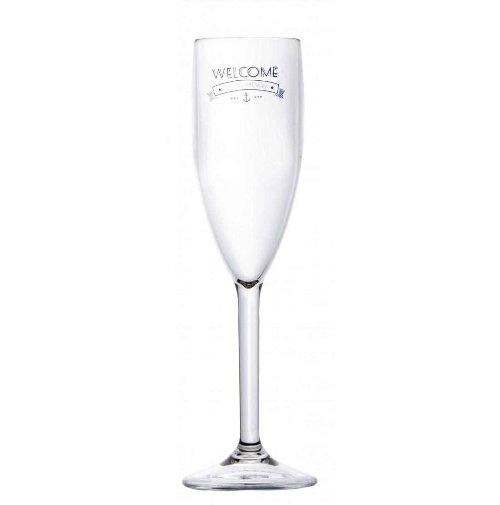 """Flûte à champagne en mélamine avec imprimé """"Welcome"""""""