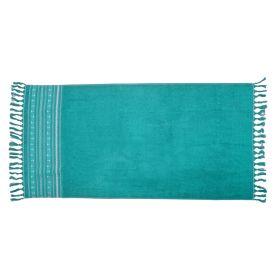 Serviette de plage 100 x 180 cm en 100 % coton bleu marine
