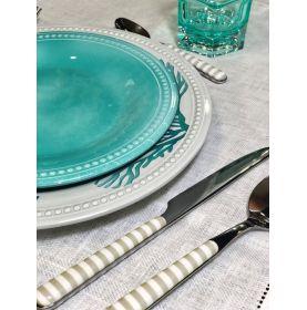 6 grandes assiettes en mélamine à motifs coraux bleus