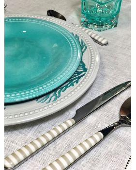 6 assiettes à dessert turquoise en mélamine contour perlé