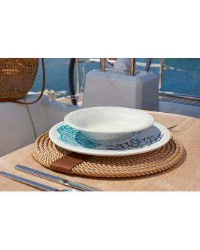 6 assiettes à desserts en mélamine à motif corail bleu