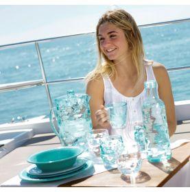 Service de 6 verres à eau turquoises aspect ondulé