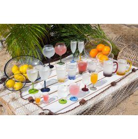 Collection de verres pour bateau avec pied à couleur unique