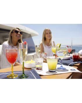 verres à cocktail en mélamine avec base colorée