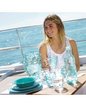 vaisselle de bateau en mélamine turquoise