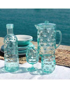 vaisselle mélamine turquoise à forme ondulée