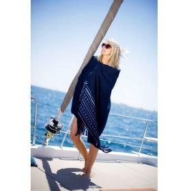 Serviette de plage en coton 100 x 180 cm bleu marine à franges