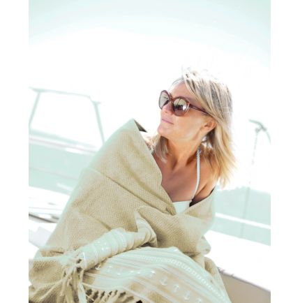Serviette de plage écru 100 x 180 cm en 100 % coton