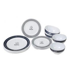 Pack vaisselle en mélamine pour 4 personnes style marin