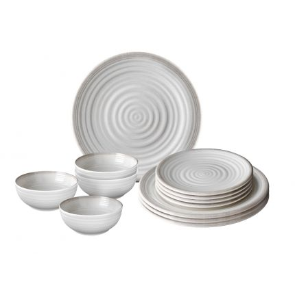 vaisselle mélamine effet céramique avec assiettes et bols