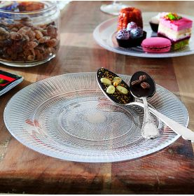 assiette plate en verre trempé motifs gravés sophistiqués