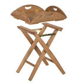 Table pliante ovale 60x53 cm en teck huilé