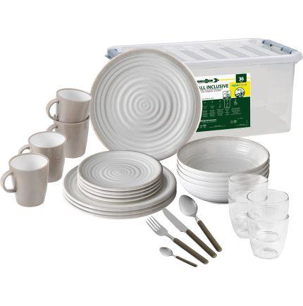 Pack vaisselle mélamine effet céramique 4 pers. - 16 pièces