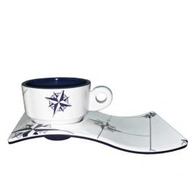 6 tasses et sous-tasses à café banches à rebord anti-chute