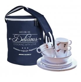 """Service vaisselle antidérapante 24 pièces motifs pavillons - """"REGATA"""""""
