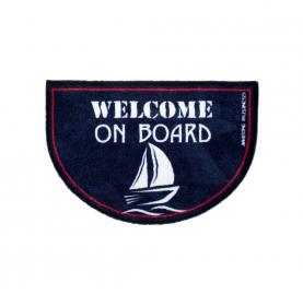 "Paillasson demi-lune ""Welcome on board"" bleu et blanc"