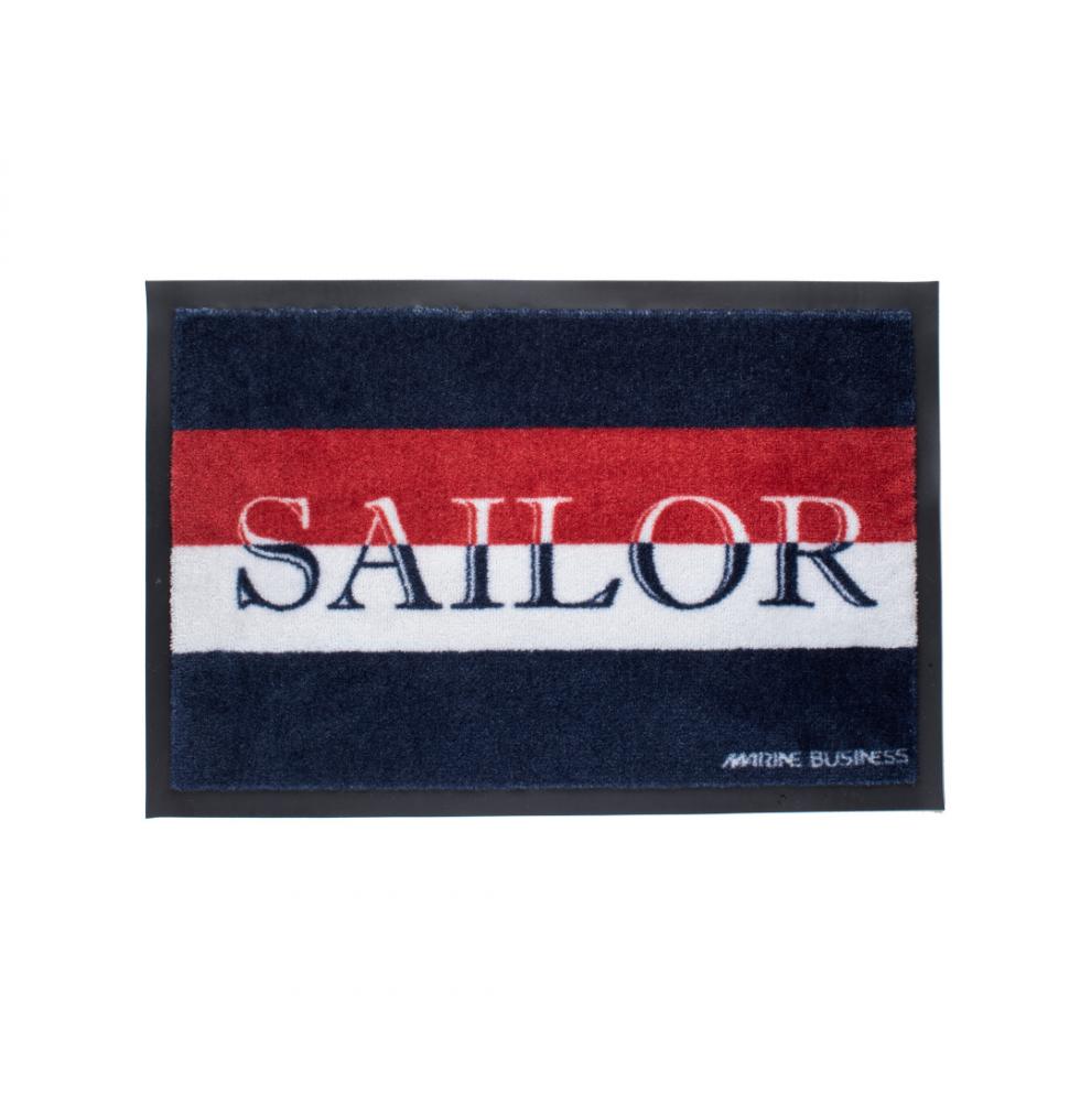 2 paillassons antidérapants rectangulaires Bleus rouges et blanc Sailor