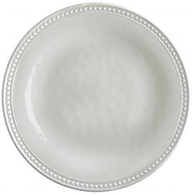 6 assiettes plates beiges avec bordure perlée