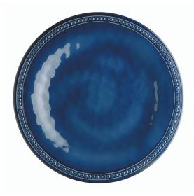 6 assiettes plates bleues effet céramique contour perlée