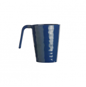 6 mugs bleu profond en mélamine martelé hauteur 10.5 cm