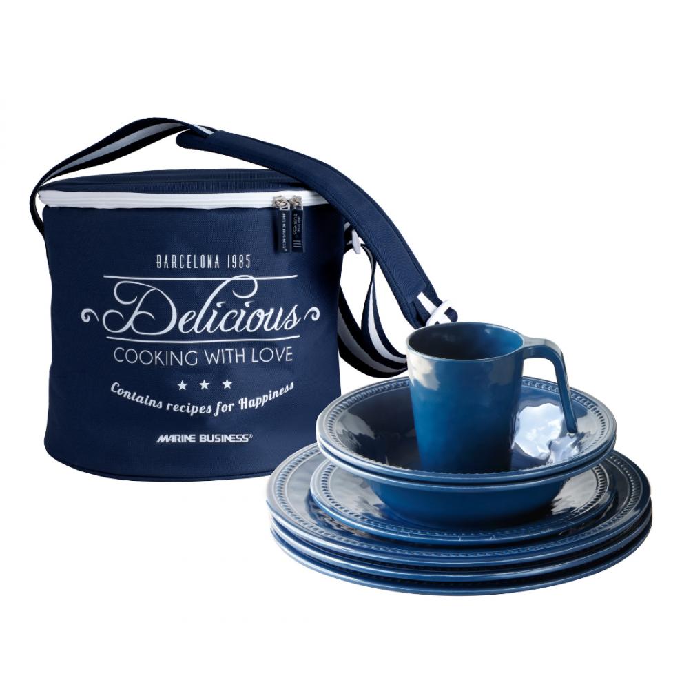 Service vaisselle incassable bleu pour 4 personnes