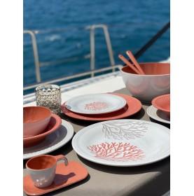 6 grandes assiettes en mélamine à motifs coraux coloris corail