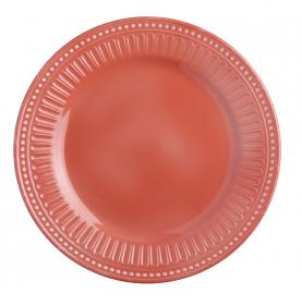 6 assiettes plates corail avec bordure cannelée et perlée