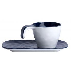 Coffret 6 tasses expresso et soucoupes en mélamine aspect céramique - Bleu Marine