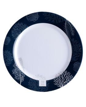 6 assiettes plates bleu marine et blanches à motifs coralliens