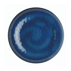 """6 petites assiettes bleues contour perlé et effet terre cuite - """"HARMONY"""""""