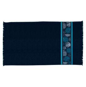 drap de plage bleu marine en coton à franges et broderies