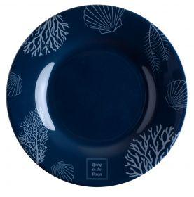6 assiettes à dessert bleues motifs coraux gris antidérapantes