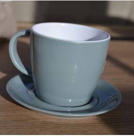1 tasse avec soucoupe grise en mélamine 25cl