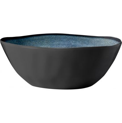 Saladier en melamine style grès gris et bleu