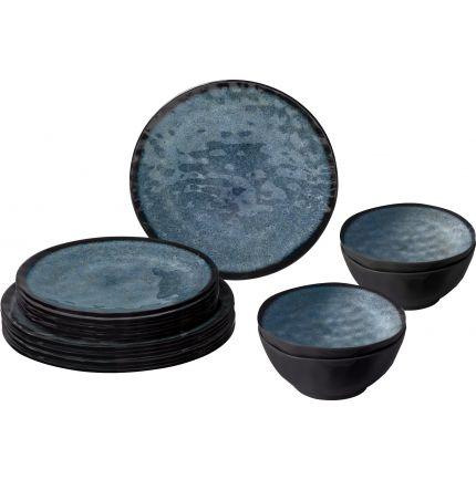 Ensemble12 pièces imitation grès gris bleuté en mélamine