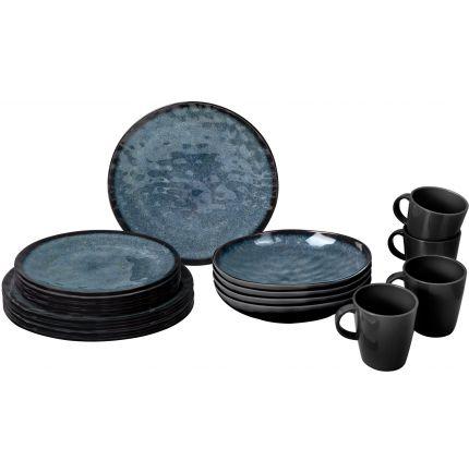 Ensemble 16p assiettes et mugs imitation grès reflet gris bleu