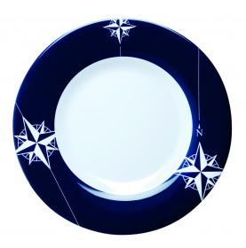 """Assiettes à dessert rondes à bordures bleues - """"NORTHWIND"""""""