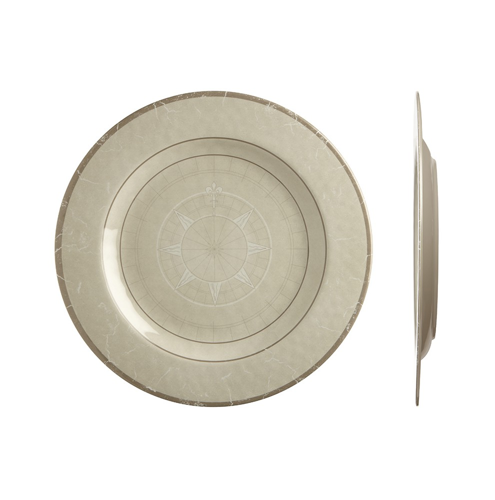 Assiettes plates beiges rose des vents