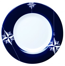 Assiettes plates bordures bleues rose des vents